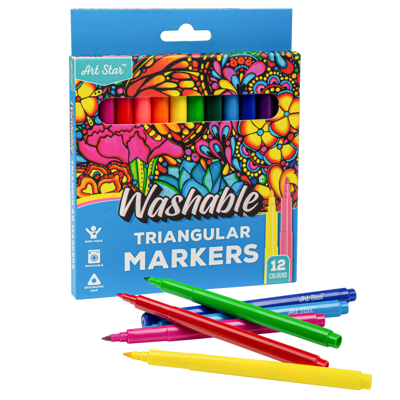 Steel Blue Art Star Washable Triangular Markers Assorted Colours 12 Pieces Kids Drawing