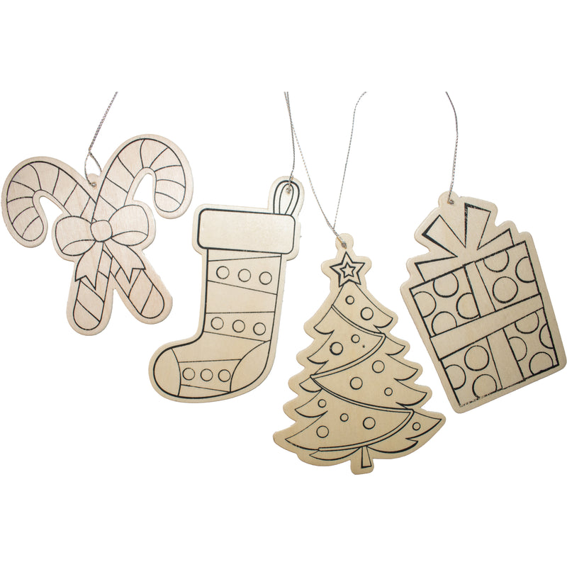 Colour Your Own Wooden Ornaments 12pc