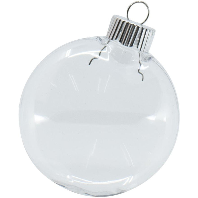 Christmas Flat Bauble Clear 80mm 4pk