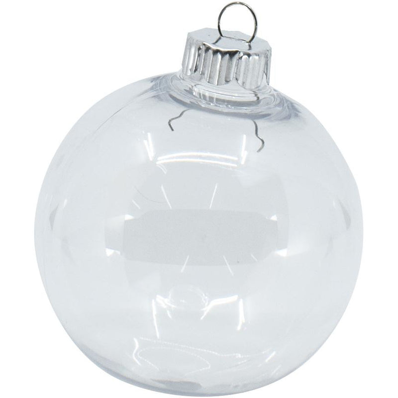 Christmas Bauble Clear 83mm 4pk
