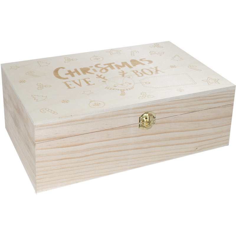 Gray Wooden Keepsake Christmas Eve Box With Personalised Tag Option Christmas