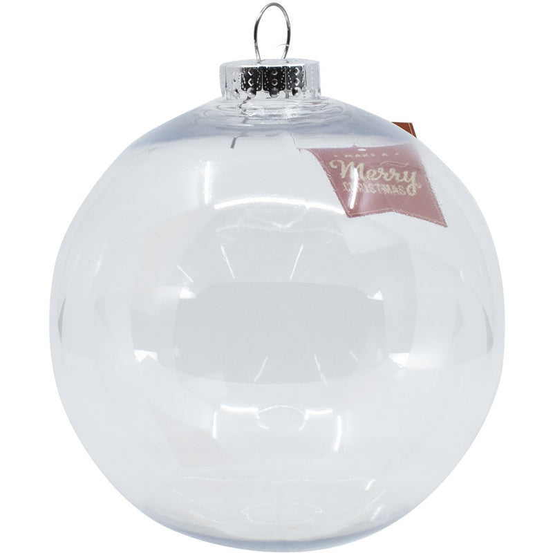 Light Gray Make A Merry Christmas Bauble Clear 150mm Christmas