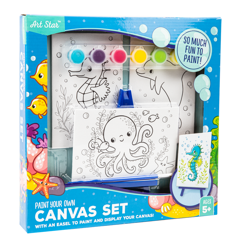 Lavender Art Star Canvas and Easel Set Makes 3 Kids Kits