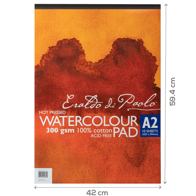Brown Eraldo Watercolour Pad A2 Hot Pressed 300gsm 10sht Pads