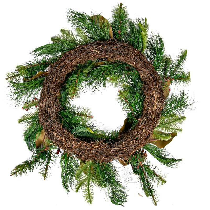 Dark Olive Green Bryson Pineberry Wreath 60Cm Christmas