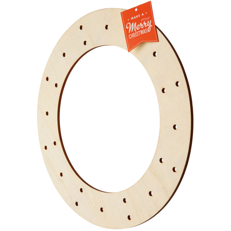 Bisque Plywood Drilled Wreath Christmas