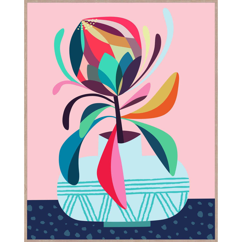 Pink Artist Lab - Rachel Lee - Rainbow Protea Framed Canvas - 40x50cm Finished Artwork