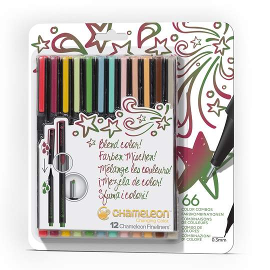 Beige Chameleon Fineliner 12-Pen Designer Colors Set Pens