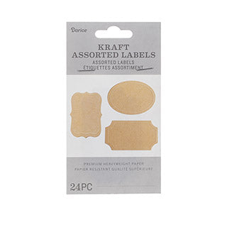 Assorted Kraft Labels 1.75 X 2.5 Inches, 24 Pack