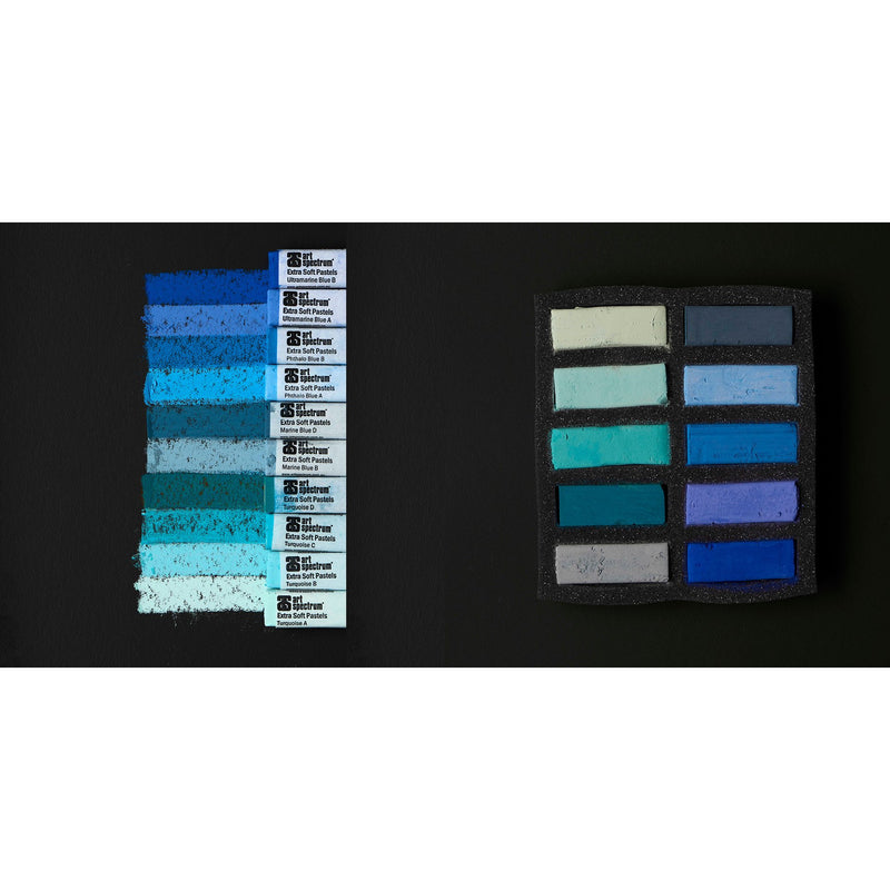 Art Spectrum Extra Soft Square Pastel Turquoise And Blues 10 Pack