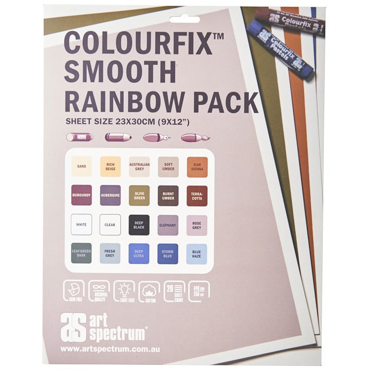 Light Gray Art Spectrum Colourfix Smooth 23X30Cm 340Gsm Rainbow (Pkt 20 Sheets) Pastels And Charcoal