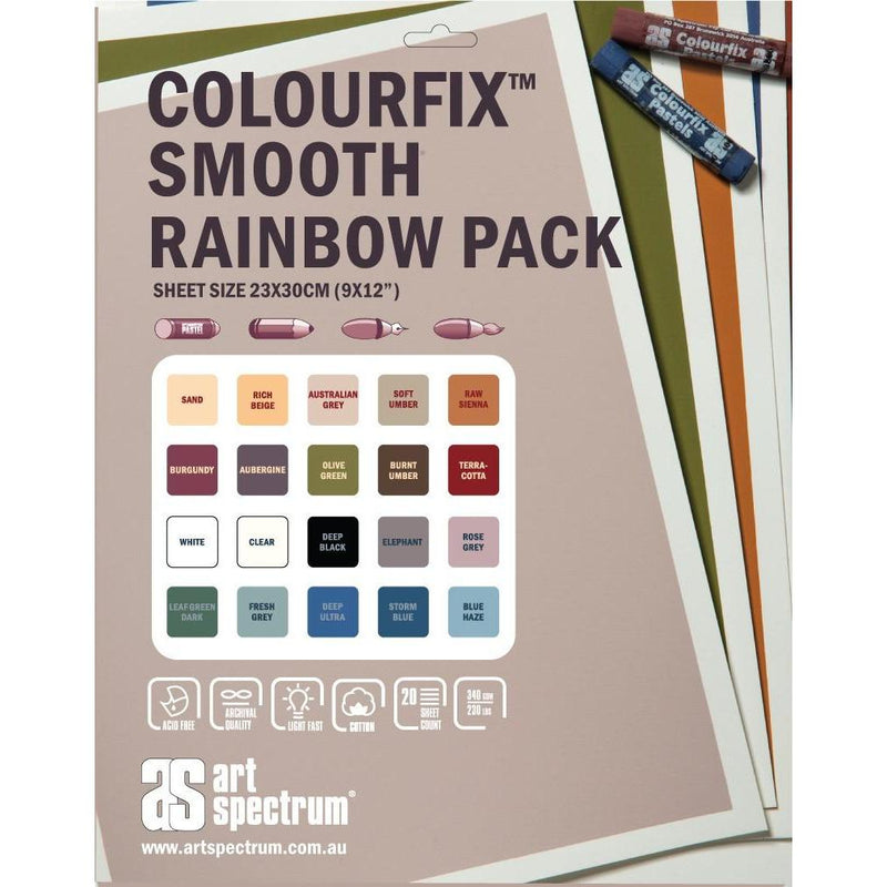 Gray Art Spectrum Colourfix Smooth 23X30Cm 340Gsm Rainbow (Pkt 20 Sheets) Pastels And Charcoal