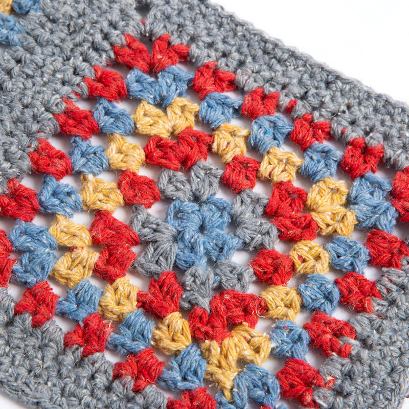 Firebrick Granny Annie Squares Crochet Kit - Cranberry, Corn, River, Grey Mist Needlework