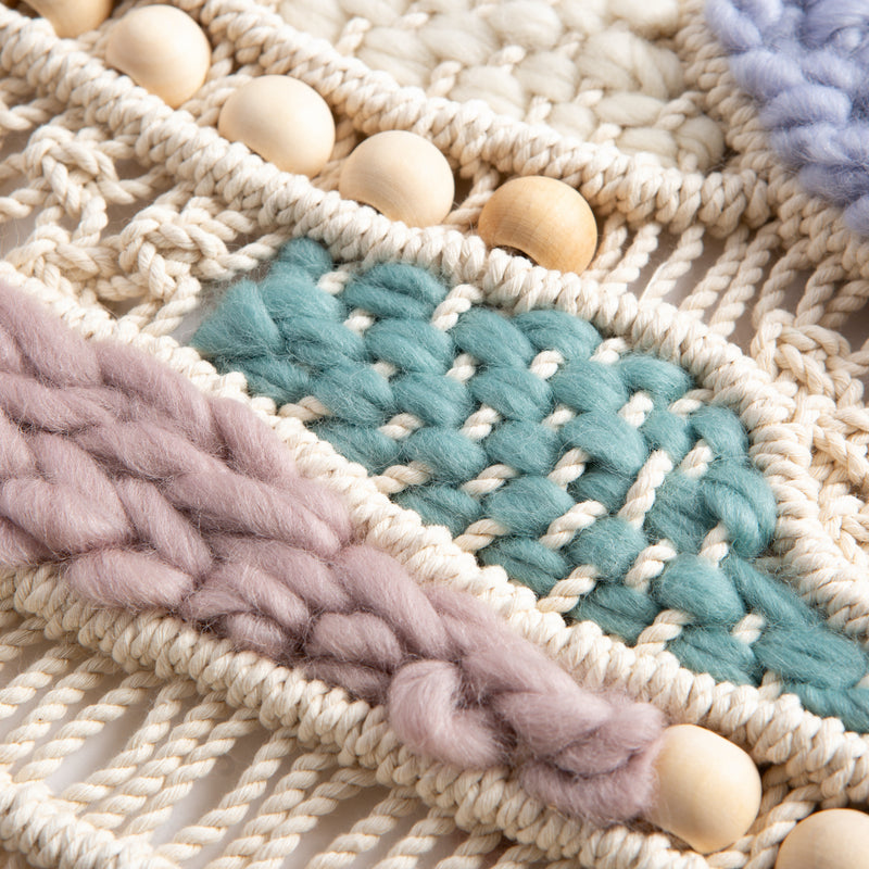 Light Slate Gray Macrame Weave Craft Kit  - Natural Cream Macrame