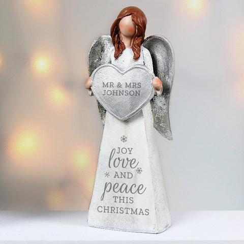 Personalised Joy Love and Peace Christmas Angel Ornament Gifts for Couples