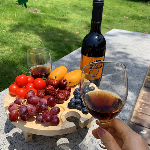 Wooden Outdoor Portable Folding Picnic Table with Glass & Wine Rack
