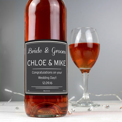 Personalised Classic Rose Wine ¦ Personalised Rose Label  for Couples