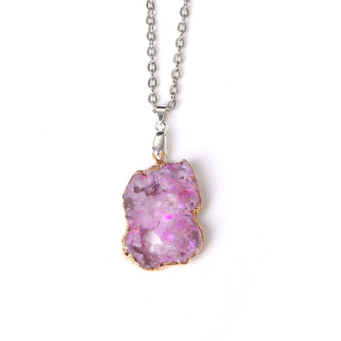 Natural Druzy Quartz Crystal Stone Necklace ¦ Women Necklace Jewelry Gift