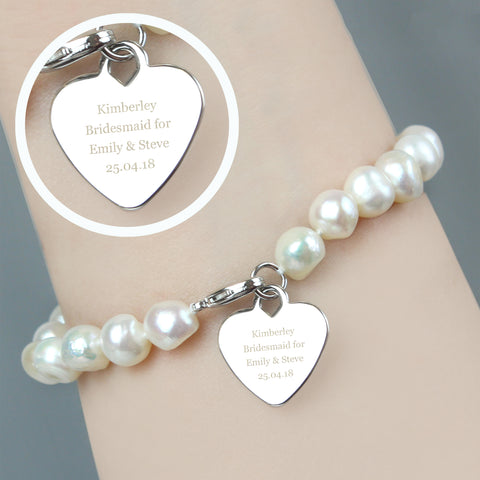 Personalised White Freshwater Pearl Message Bracelet Gifts