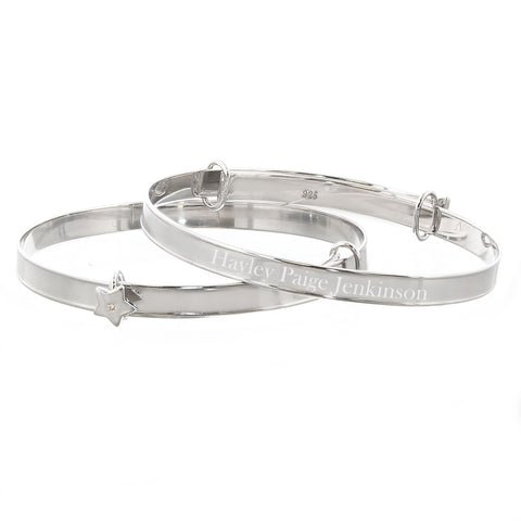 Personalised Sterling Silver Childs Expanding Diamante Star Bracelet Gifts