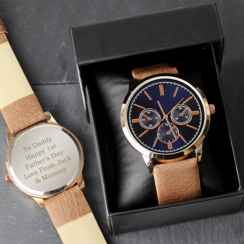 Personalised Men's Rose Gold Tone Watch with Box ¦ Gifts for Him