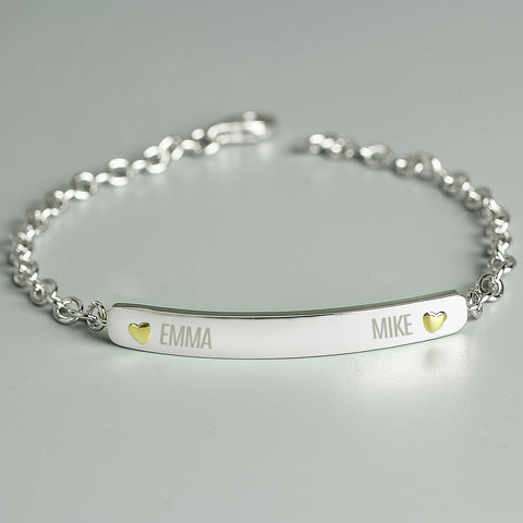 Personalised Two Names Sterling Silver and 9ct Gold Bar Bracelet Gifts