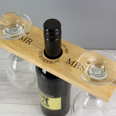 Personalised Married Couple Wine Glass & Bottle Butler Gifts Set