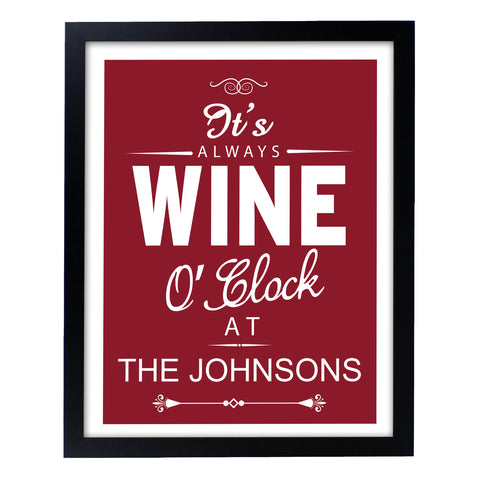 Personalised Wine O'Clock Black Framed Print Gift ¦ A Wine Lovers