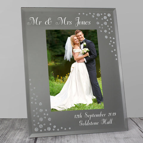 Personalised Any Message Diamante Glass Photo Frame ¦ Gifts for Couples