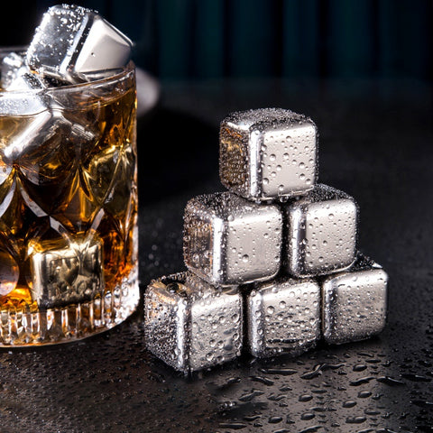 Stainless Steel Ice Cubes, Reusable Chilling Stones for Whiskey Wine