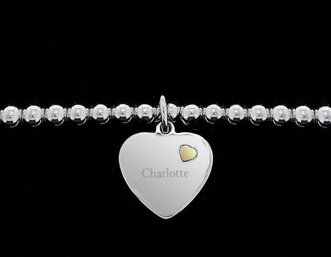 Personalised Sterling Silver and 9ct Gold Heart Bracelet Gift for her