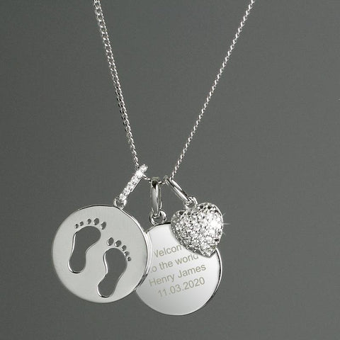 Personalised Sterling Silver Footprints and Heart Necklace Gifts