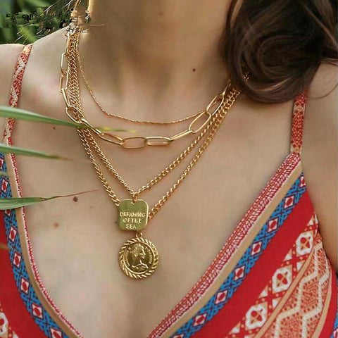 Multilayer Crystal Pendant Necklace ¦ Beads Moon Star Horn Crescent Choker Necklaces