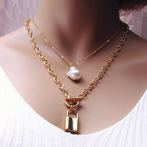 Double Layers Pearls & Chain Necklaces with Pendants ¦ Pearl Jewellery Set