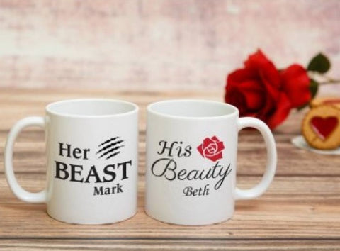 Personalised Her Beast His Beauty Mug Set Online Delivery ¦ A Wine Lovers