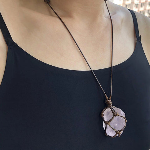 Pendant Necklaces Natural Healing Stone Rope Wrapped Necklace Gifts
