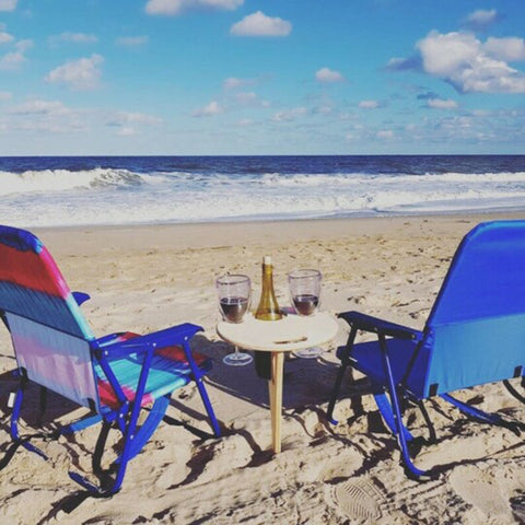 Outdoor Wine Table Portable with Round Desktop for Sand and Grass