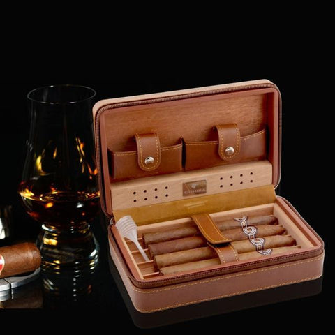 Travel Leather Cigar Humidor Case ¦ Cedar Humidifier Box With Lighter Cutter