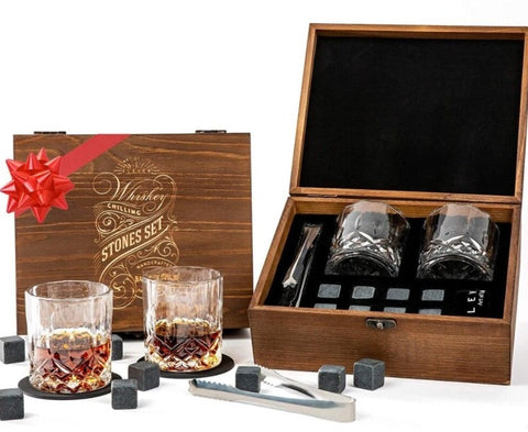 Whiskey Stones and Whiskey Glass Gift Box Set in Wooden Box