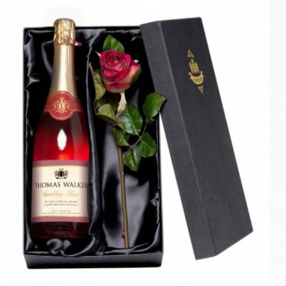 Personalised Sparkling Rose and Silk Rose Gift ¦  Wine Lovers Set Gift. - A Wine Lovers