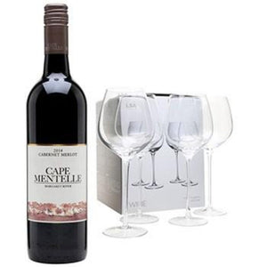 Red Wine Merlot Bottle with 4 Wine Glasses Gift Set ¦ A Wine Lovers