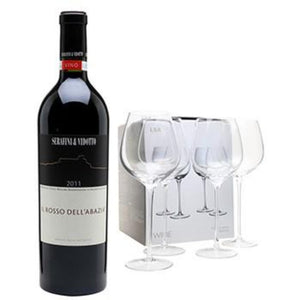 Wine Cabernet/Merlot Bottle with 4 Wine Glasses Gift Set ¦ A Wine Lovers