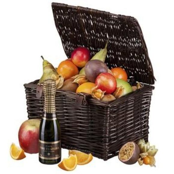 Exotic Fresh Fruit and  Bubbly Sparkling Wine Hamper Basket Gifts ¦ A Wine Lovers