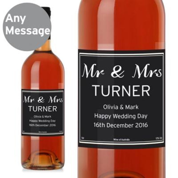 Personalised Classic Rose Wine ¦ Personalised Rose Label  for Couples A Wine Lovers