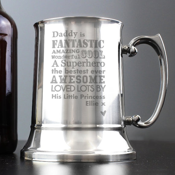 Personalised Stainless Steel Tankard Gifts ¦ Stainless Steel Tankard Gift for DAD A Wine Lovers