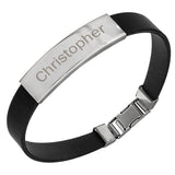 Personalised Stainless Steel Men's Black Bracelet ¦ Mens Leather Bracelet  A Wine Lovers