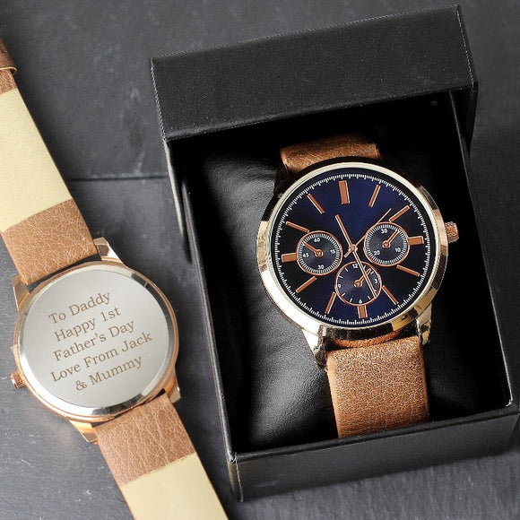 Personalised Men's Rose Gold Tone Watch with Box ¦ Gifts for Him A Wine Lovers