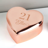 Personalised Big Age Rose Gold Heart Trinket Jewellery Box Gifts  A Wine Lovers