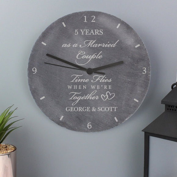 Personalised Anniversary Slate Clock ¦ Engagement & Wedding Gifts