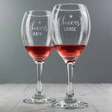 Personalised Cheers Wine Glass Set for Couples ¦ Send Persaonalised Gift A Wine Lovers
